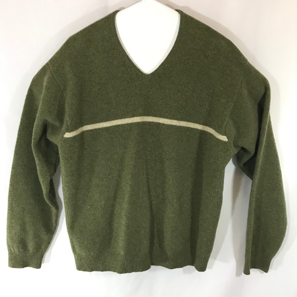 J Crew Lambs Wool Sweater XL Green white stripe